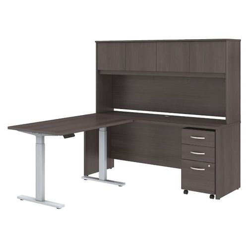 BUSH BUSINESS FURNITURE STUDIO C 72W X 24D L SHAPED DESK WITH HUTCH, 48W HEIGHT ADJUSTABLE RETURN AND STORAGE. FREE SHIPPING - <font color=red><b>OUT OF STOCK</b></font>
