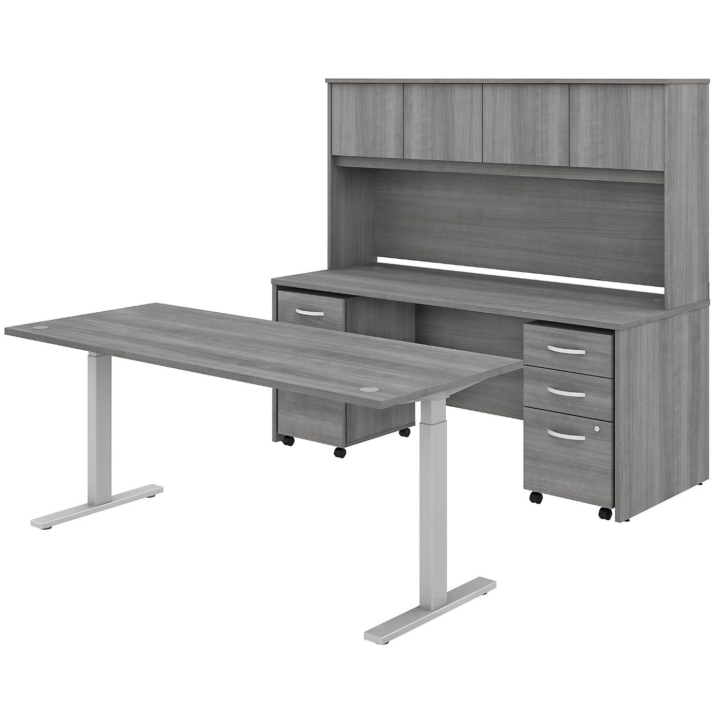 BUSH BUSINESS FURNITURE STUDIO C 72W X 30D HEIGHT ADJUSTABLE STANDING DESK, CREDENZA WITH HUTCH AND MOBILE FILE CABINETS. FREE SHIPPING