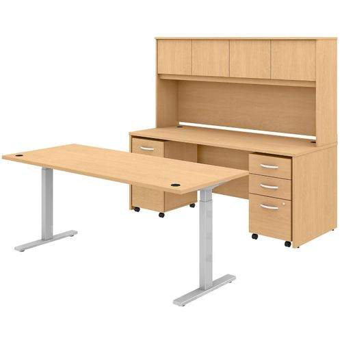 BUSH BUSINESS FURNITURE STUDIO C 72W X 30D HEIGHT ADJUSTABLE STANDING DESK, CREDENZA WITH HUTCH AND MOBILE FILE CABINETS. FREE SHIPPING - <font color=red><b>OUT OF STOCK</b></font>