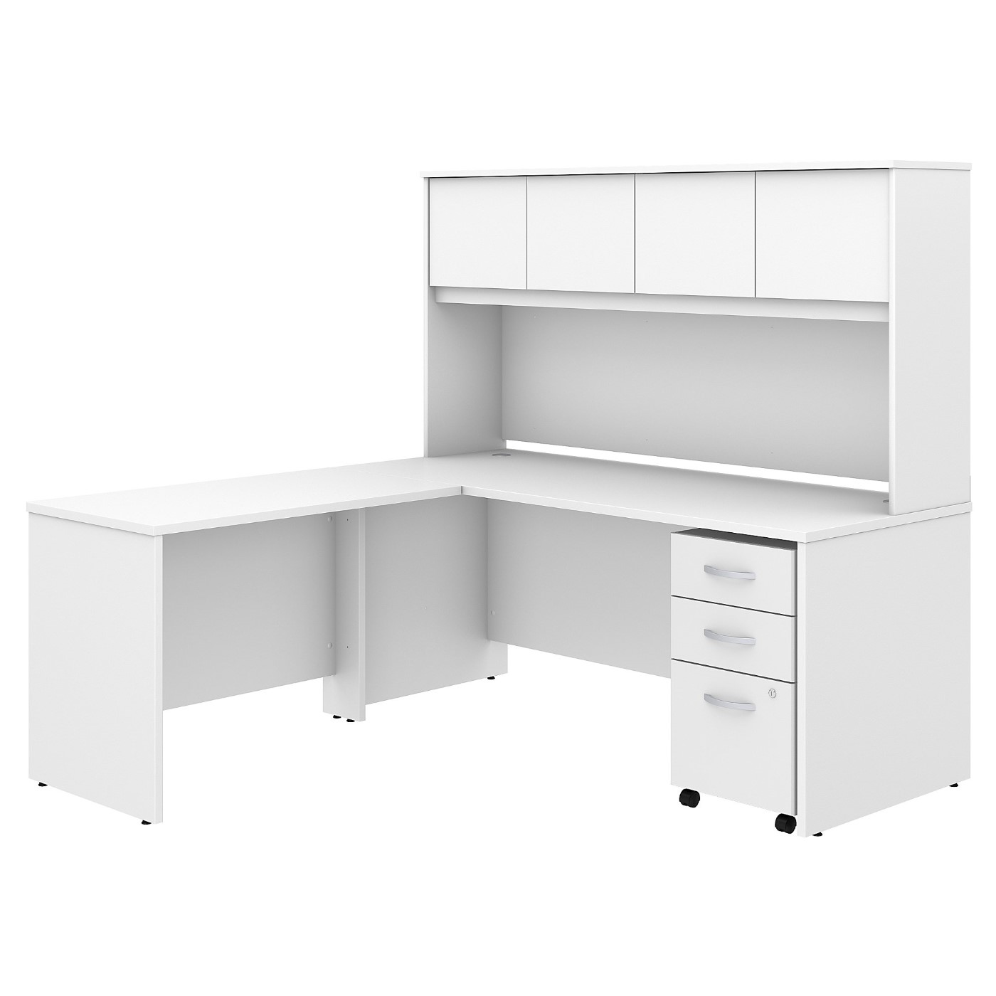 BUSH BUSINESS FURNITURE STUDIO C 72W X 30D L SHAPED DESK WITH HUTCH, MOBILE FILE CABINET AND 42W RETURN. FREE SHIPPING