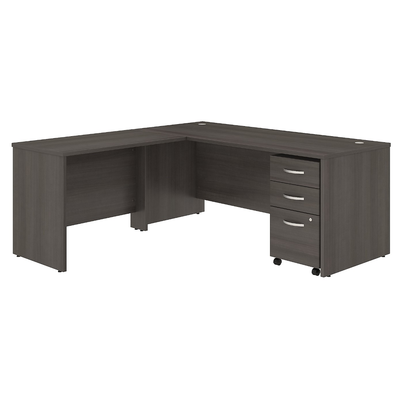 BUSH BUSINESS FURNITURE STUDIO C 72W X 30D L SHAPED DESK WITH MOBILE FILE CABINET AND 42W RETURN. FREE SHIPPING