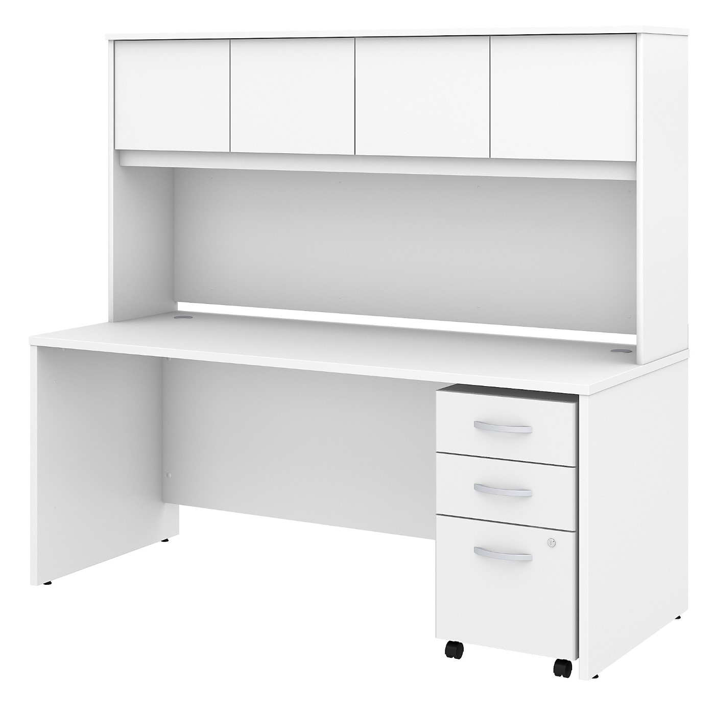 BUSH BUSINESS FURNITURE STUDIO C 72W X 30D OFFICE DESK WITH HUTCH AND MOBILE FILE CABINET. FREE SHIPPING