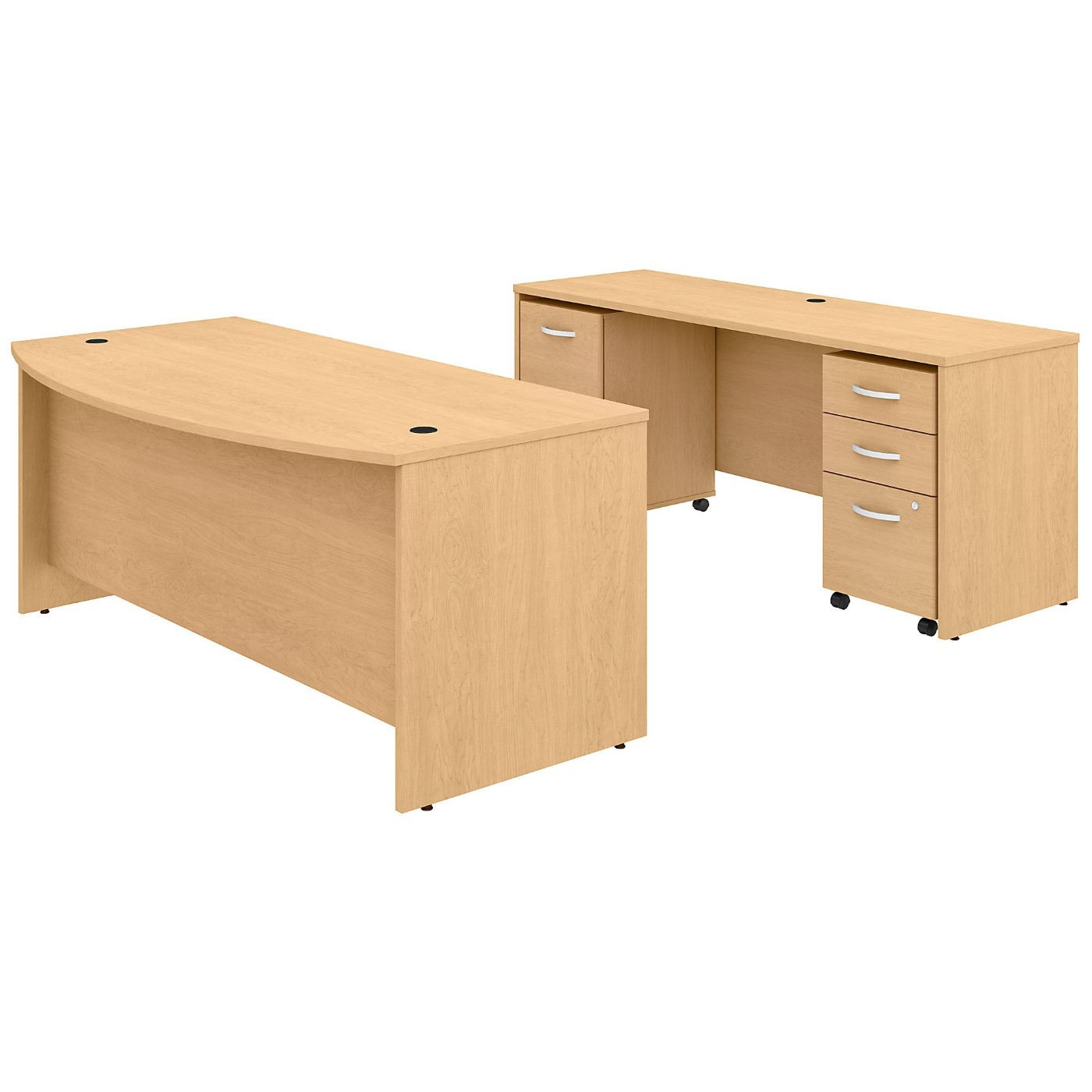 BUSH BUSINESS FURNITURE STUDIO C 72W X 36D BOW FRONT DESK AND CREDENZA WITH MOBILE FILE CABINETS. FREE SHIPPING