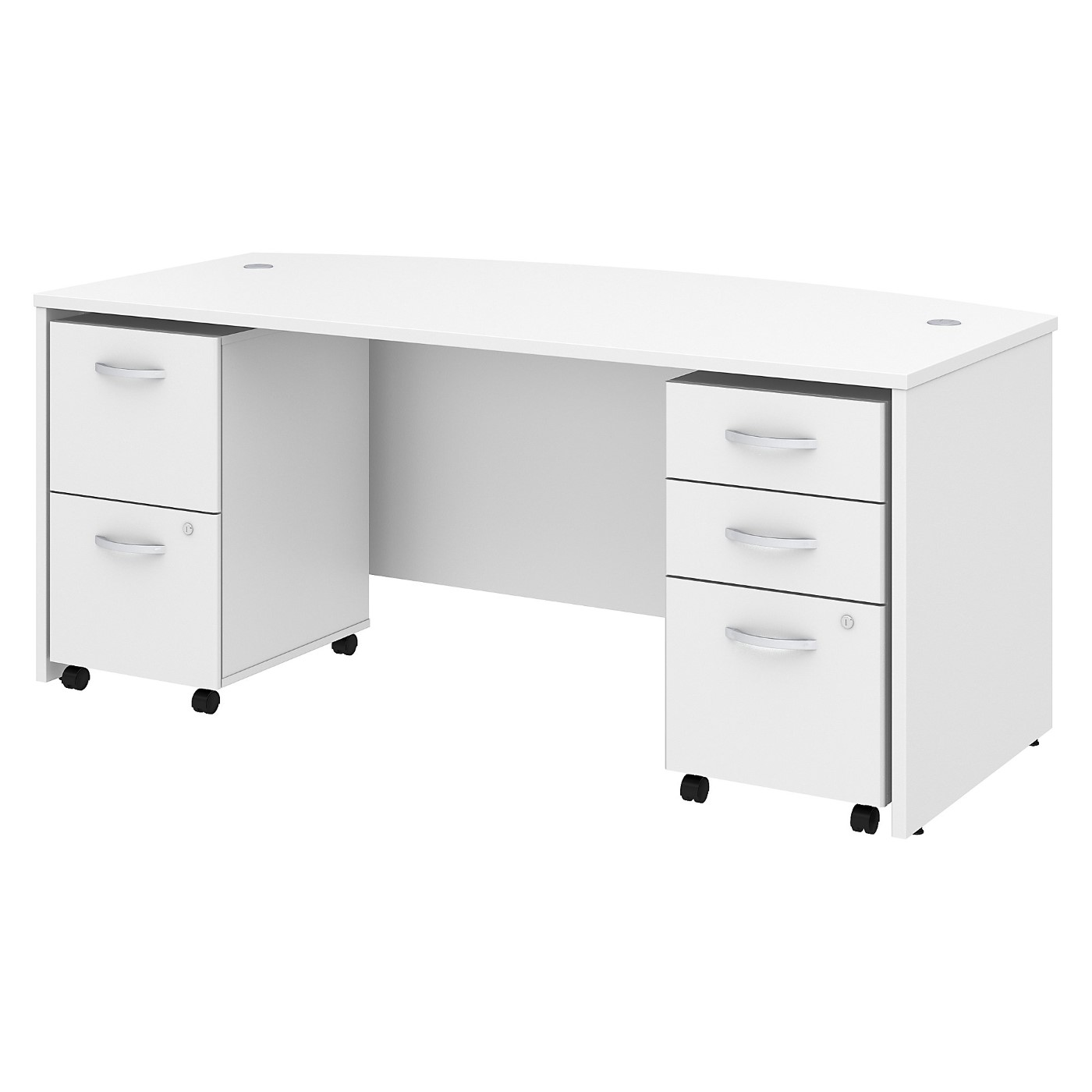 BUSH BUSINESS FURNITURE STUDIO C 72W X 36D BOW FRONT DESK WITH MOBILE FILE CABINETS. FREE SHIPPING