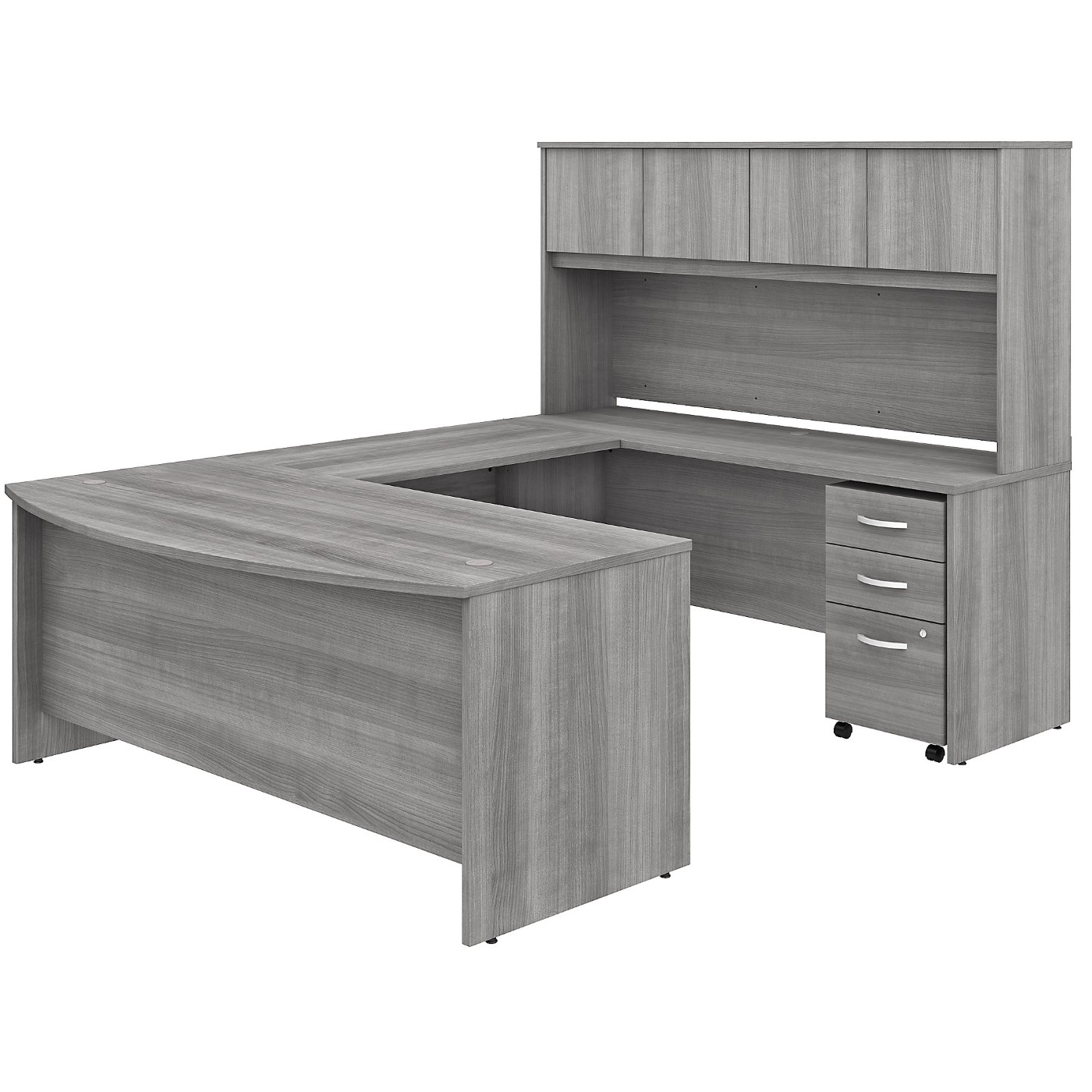 BUSH BUSINESS FURNITURE STUDIO C 72W X 36D U SHAPED DESK WITH HUTCH AND MOBILE FILE CABINET. FREE SHIPPING SALE DEDUCT 10% MORE ENTER '10percent' IN COUPON CODE BOX WHILE CHECKING OUT.