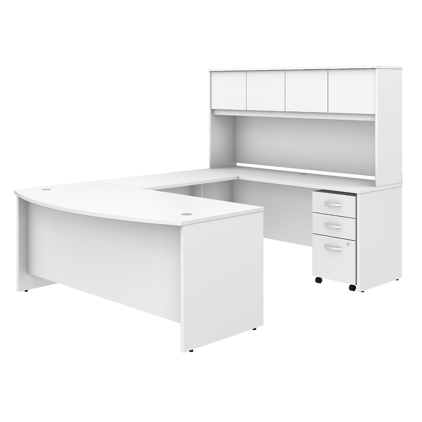 BUSH BUSINESS FURNITURE STUDIO C 72W X 36D U SHAPED DESK WITH HUTCH AND MOBILE FILE CABINET. FREE SHIPPING