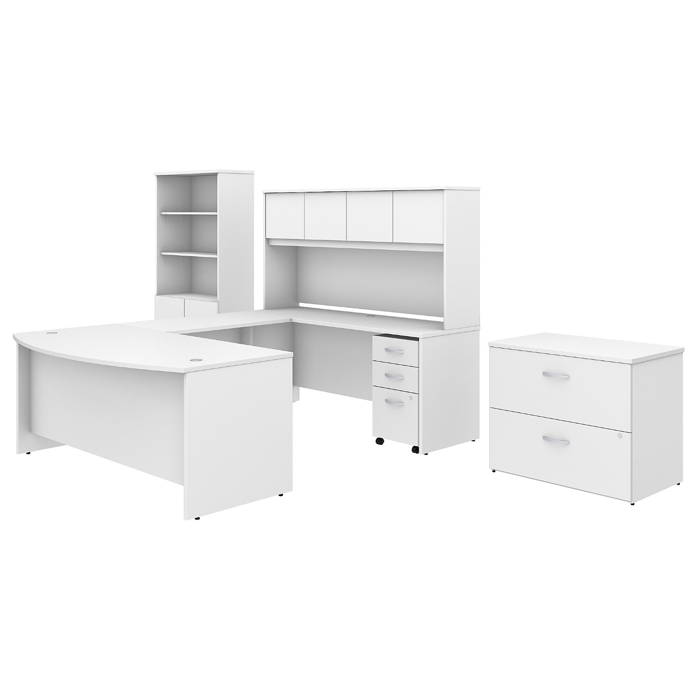 BUSH BUSINESS FURNITURE STUDIO C 72W X 36D U SHAPED DESK WITH HUTCH, BOOKCASE AND FILE CABINETS. FREE SHIPPING
