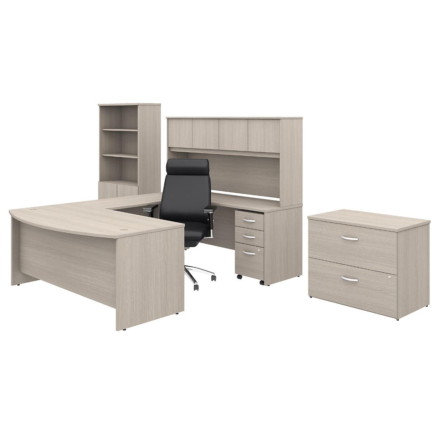 BUSH BUSINESS FURNITURE STUDIO C 72W X 36D U SHAPED DESK WITH HUTCH, BOOKCASE, FILE CABINETS AND HIGH BACK OFFICE CHAIR. FREE SHIPPING