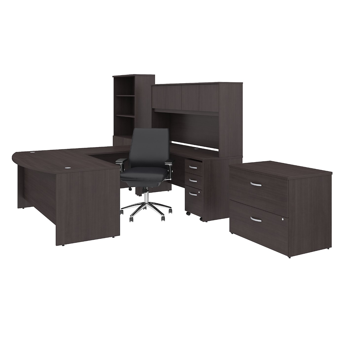 BUSH BUSINESS FURNITURE STUDIO C 72W X 36D U SHAPED DESK WITH HUTCH, BOOKCASE, FILE CABINETS AND MID BACK OFFICE CHAIR. FREE SHIPPING