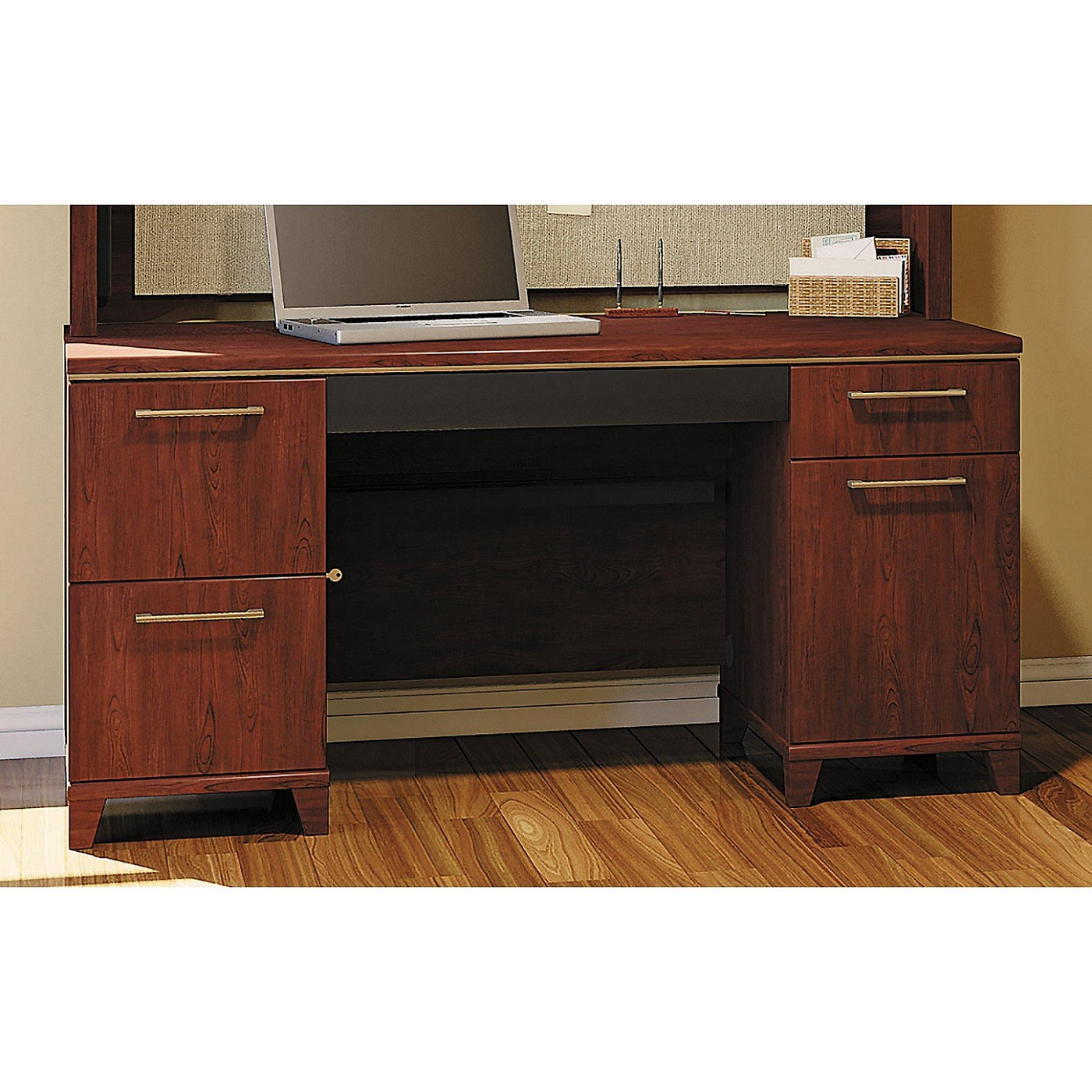 "BUSH BUSINESS FURNITURE HARVEST CHERRY 60""W OFFICE DESK - 2 PEDS EH-2960CS-03K. ECO FRIENDLY FURNITURE. FREE SHIPPING:"
