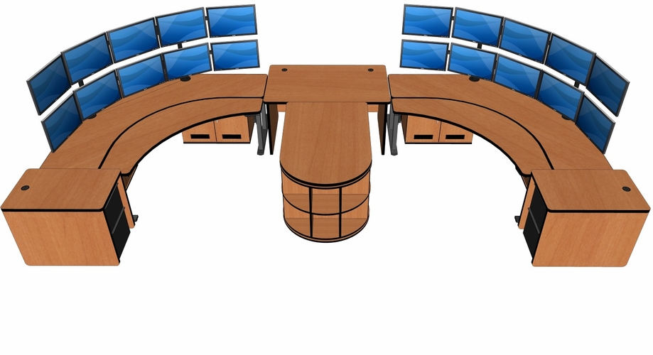 CONTROL ROOM DESK. DISPATCH FURNITURE. INCLUDES EVERYTHING NEEDED FOR 2 CONTROL ROOM OPERATORS. #CONTROL-ECP-5over5: