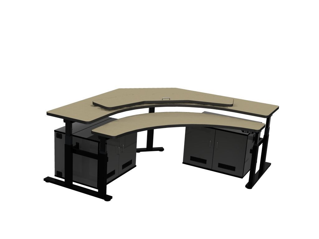 CONTROL ROOM DESK. CORNER COMPUTER DESK INCLUDES TWO CPU CABINETS W/COOLING FANS TO PREVENT CPUs FROM OVERHEATING. ITEM #RFQ1778. SHIPS IN 4-5 WEEKS. VIDEO BELOW: