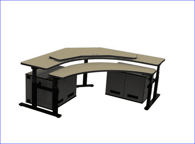 CONTROL ROOM DESK. CORNER COMPUTER DESK INCLUDES TWO CPU CABINETS W/COOLING FANS TO PREVENT CPUs FROM OVERHEATING. ITEM #RFQ1778. SHIPS IN 4-5 WEEKS.