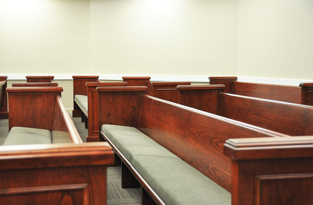 COURTROOM BENCHES FOR SPECTATOR SEATING: