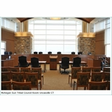 COURTROOM FURNITURE: DAIS COUNCIL CHAMBER DESKS, COURTROOM BENCHES, JUDGE'S BENCH DESK, JURY BOXES, ATTORNEY DESKS, RECEPTION DESKS, WOOD WORKSTATIONS, MOCK COURTROOM FURNITURE: