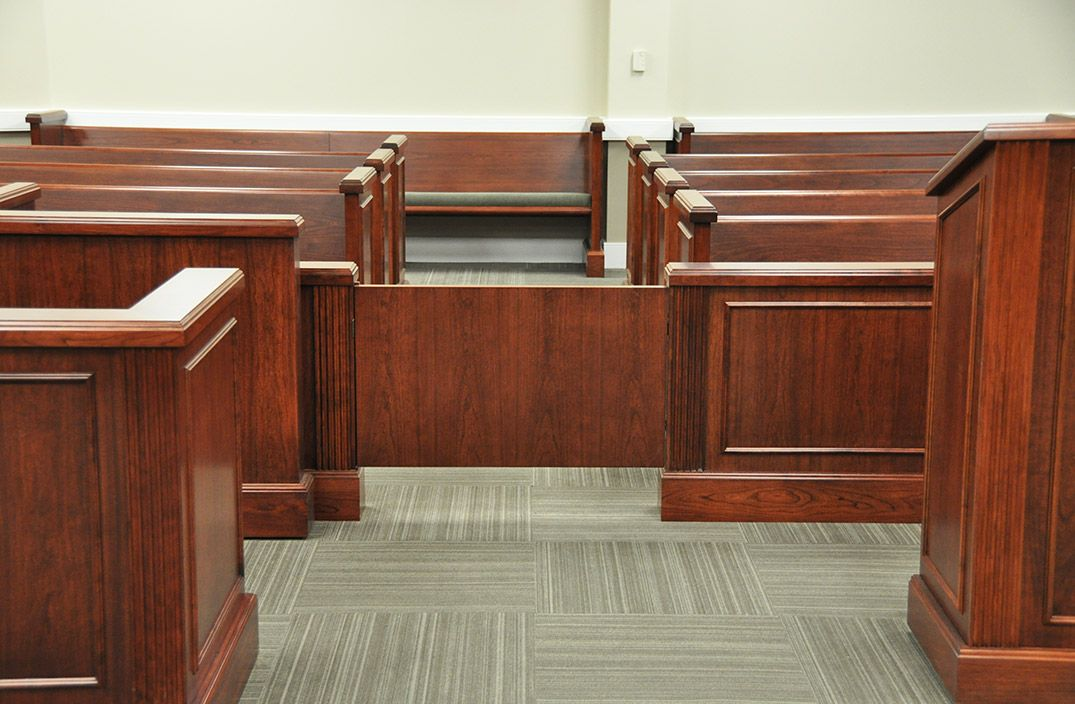 COURTROOM BENCHES FOR SPECTATOR SEATING