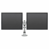 DUAL MONITOR STANDS SUPPORT TWO MONITORS HORIZONTALL OR VERTICALLY.
