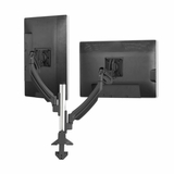DUAL MONITOR STANDS SUPPORT TWO MONITORS HORIZONTALL OR VERTICALLY. ELECTRIC MOTORIZED HEIGHT ADJUSTABLE OR FIXED.
