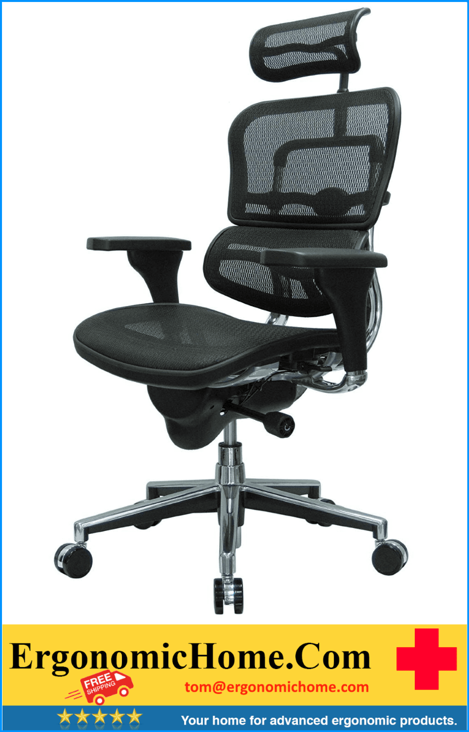 <b><font color=#000000>EUROTECH ERGOHUMAN BLACK HIGH-BACK BLACK MESH CHAIR W/HEADREST KEEPS YOU COOL, COMFORTABLE, PRODUCTIVE #EH-ME7ERG:</font></b>