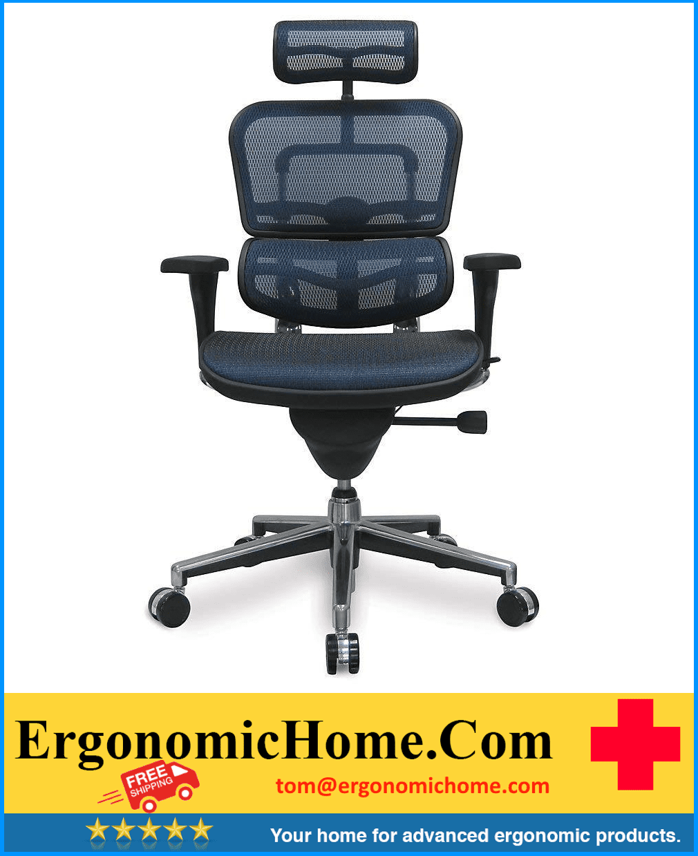 <font color=#23468c>ERGOHUMAN HIGH-BACK MESH CHAIR EH-ME7ERG BLUE</font>