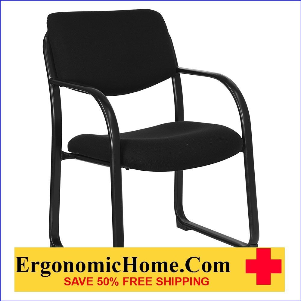 Ergonomic Home Black Fabric Executive Side Chair with Sled Base  EH-BT-508-BK-GG .