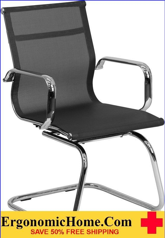 Ergonomic Home Black Mesh Side Chair with Chrome Sled Base .