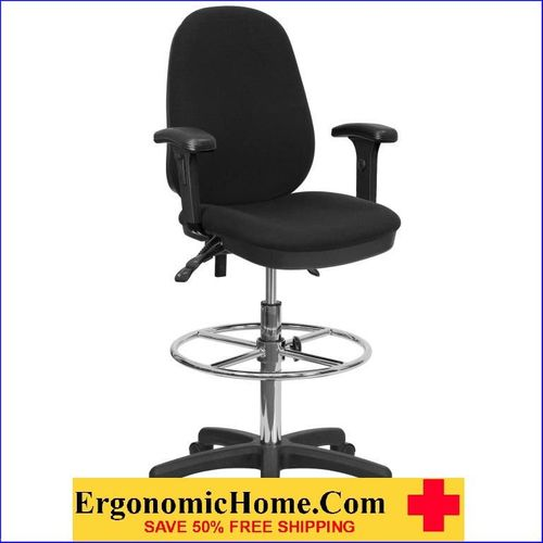 Ergonomic Home Drafting Chair with Adjustable Foot Ring and Height Adjustable Arms EH-KC-B802M1KG-ARMS-GG   VIDEO BELOW.