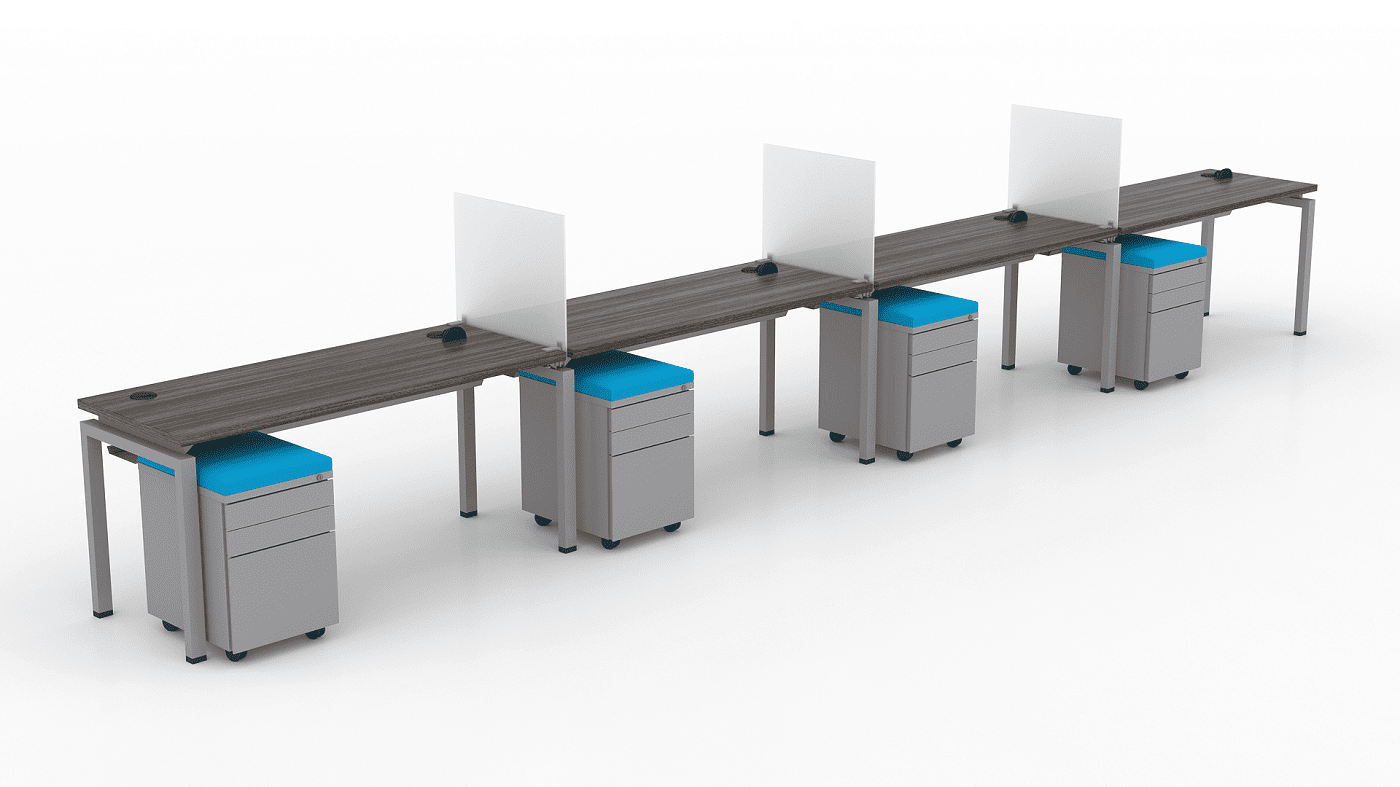 "ERGONOMIC HOME FIXED HEIGHT MODULAR BENCH WORKSTATIONS. POD OF 4 (30""x60"") SHIPPING 5-7 BIZ DAYS! READ MORE:"