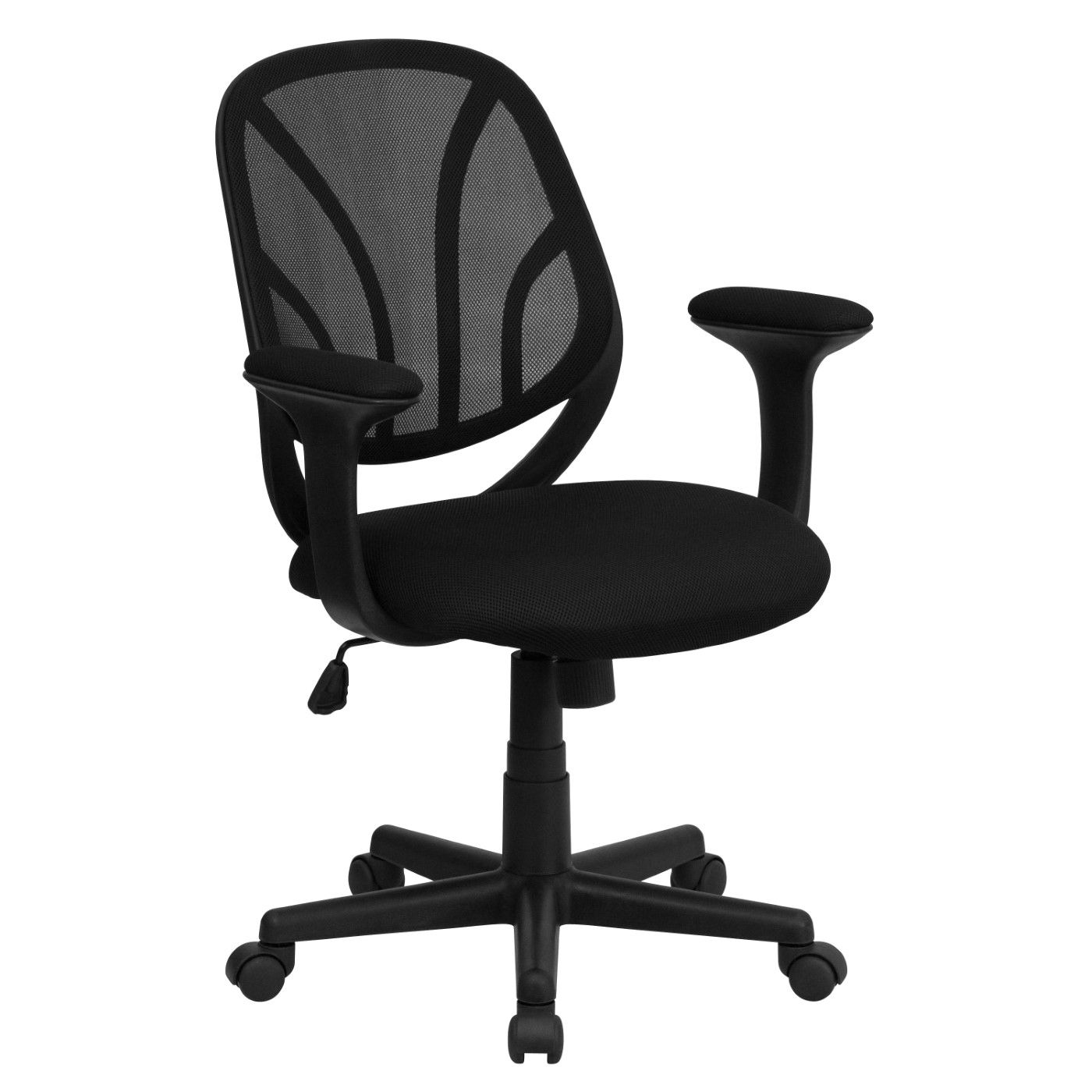 Y-GO Office Chair™ Mid-Back Black Mesh Swivel Task Office Chair with Arms