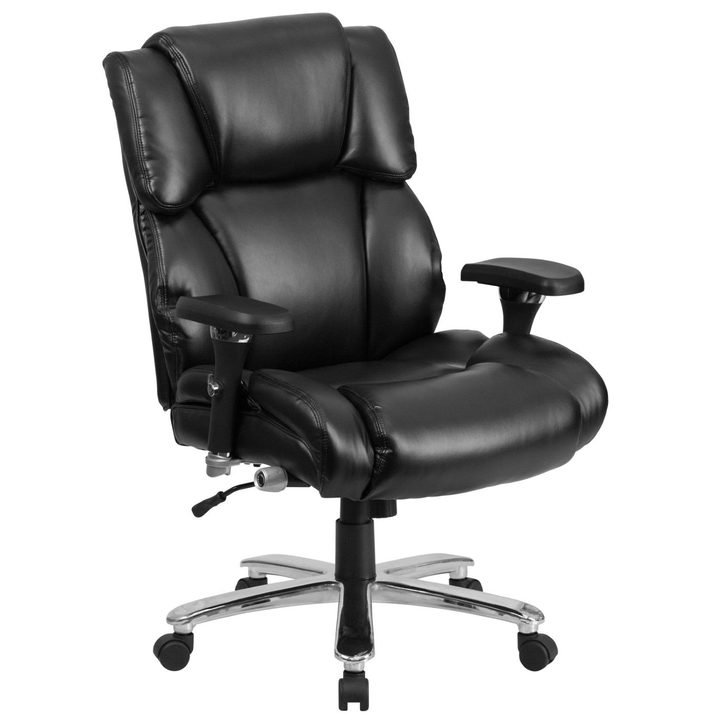 TOUGH ENOUGH Series 24/7 Intensive Use Big & Tall 400 lb. Rated Black LeatherSoft Executive Lumbar Ergonomic Office Chair