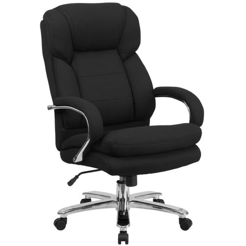 TOUGH ENOUGH Series 24/7 Intensive Use Big & Tall 500 lb. Rated Black Fabric Executive Ergonomic Office Chair with Loop Arms