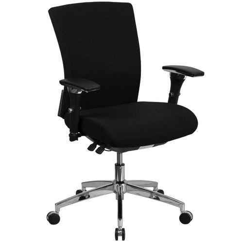 TOUGH ENOUGH Series 24/7 Intensive Use 300 lb. Rated Black Fabric Multifunction Ergonomic Office Chair with Seat Slider