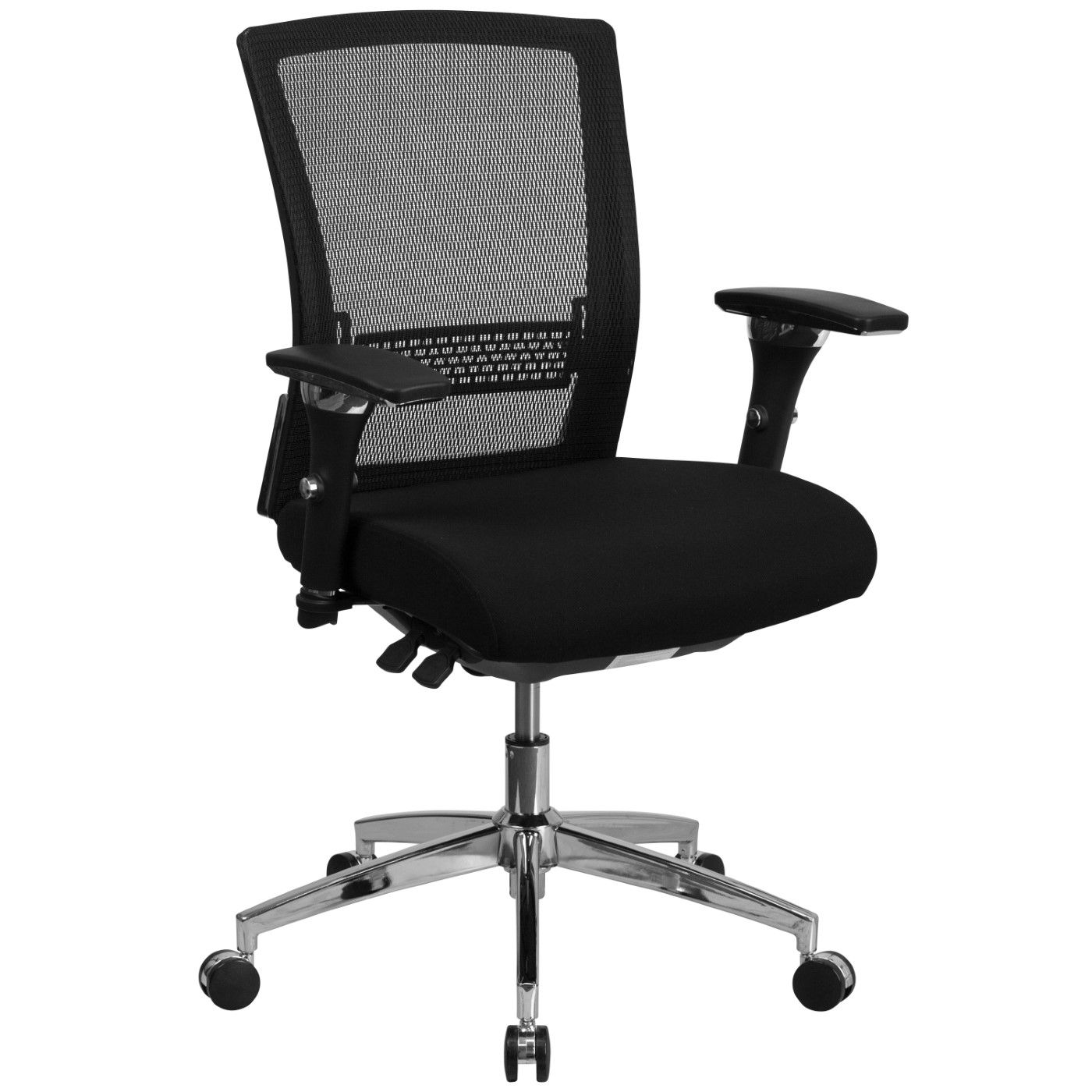 TOUGH ENOUGH Series 24/7 Intensive Use 300 lb. Rated Black Mesh Multifunction Ergonomic Office Chair with Seat Slider