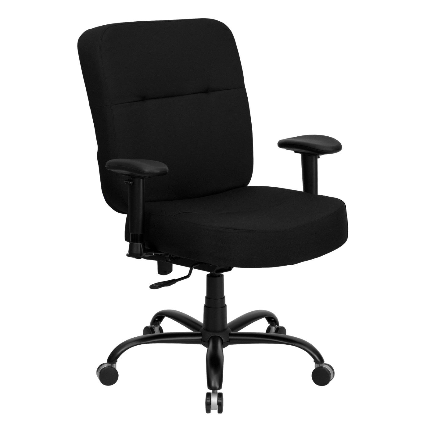 TOUGH ENOUGH Series Big & Tall 400 lb. Rated Black Fabric Rectangular Back Ergonomic Office Chair with Arms
