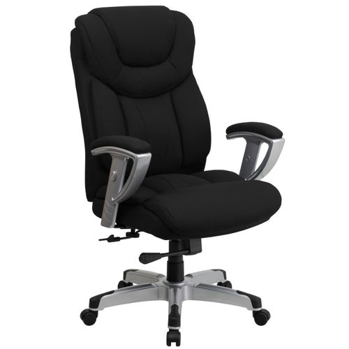 TOUGH ENOUGH Series Big & Tall 400 lb. Rated Black Fabric Executive Ergonomic Office Chair with Silver Adjustable Arms