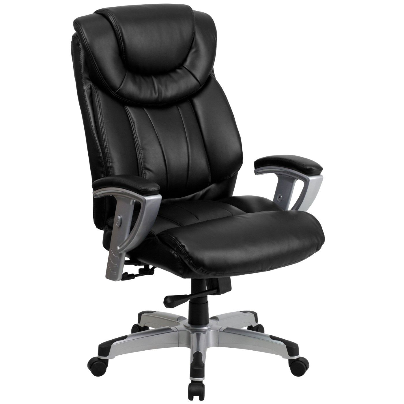 TOUGH ENOUGH Series Big & Tall 400 lb. Rated Black LeatherSoft Executive Ergonomic Office Chair with Silver Adjustable Arms