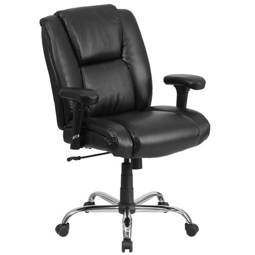 TOUGH ENOUGH Series Big & Tall 400 lb. Rated Black LeatherSoft Ergonomic Task Office Chair with Chrome Base and Adjustable Arms