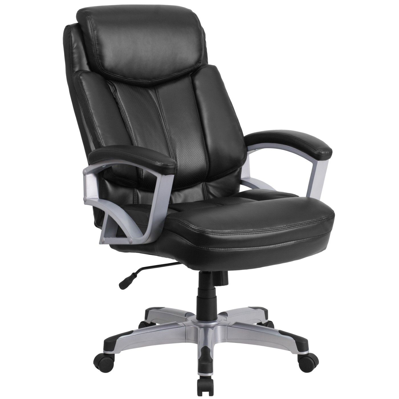 TOUGH ENOUGH Series Big & Tall 500 lb. Rated Black LeatherSoft Executive Swivel Ergonomic Office Chair with Arms