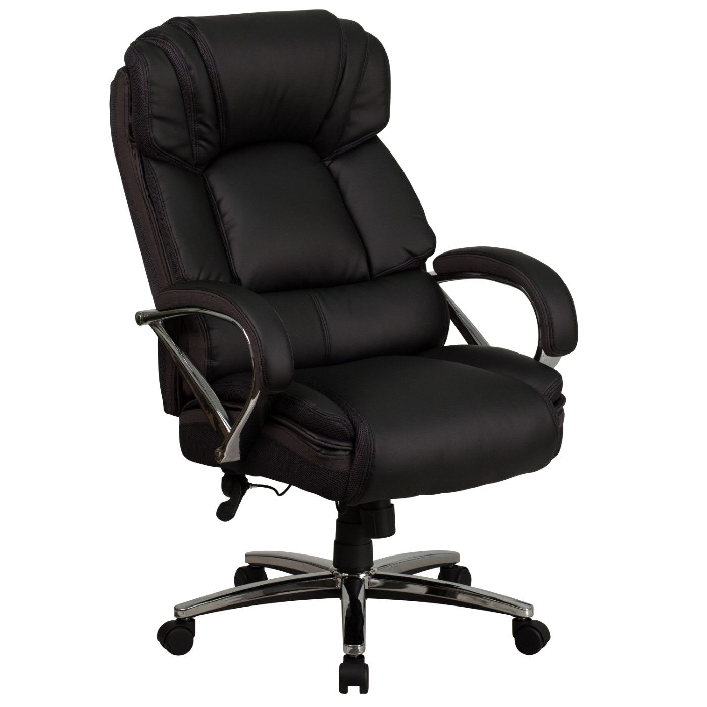 TOUGH ENOUGH Series Big & Tall 500 lb. Rated Black LeatherSoft Executive Swivel Ergonomic Office Chair with Chrome Base and Arms