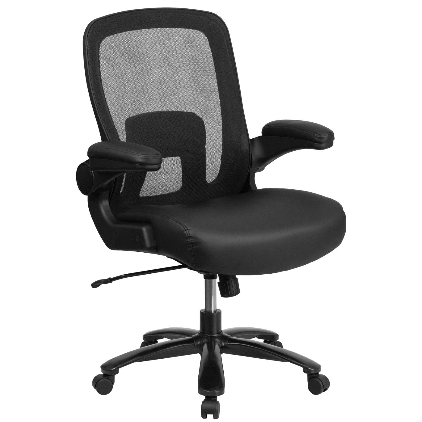 TOUGH ENOUGH Series Big & Tall 500 lb. Rated Black Mesh/LeatherSoft Executive Ergonomic Office Chair with Adjustable Lumbar