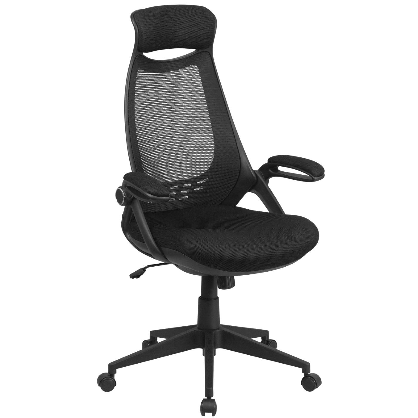 High Back Black Mesh Executive Swivel Office Chair with Flip-Up Arms