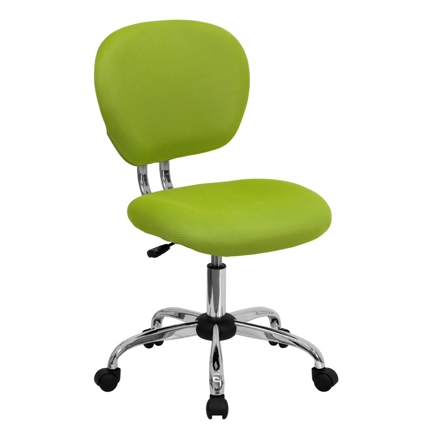 Mid-Back Apple Green Mesh Padded Swivel Task Office Chair with Chrome Base
