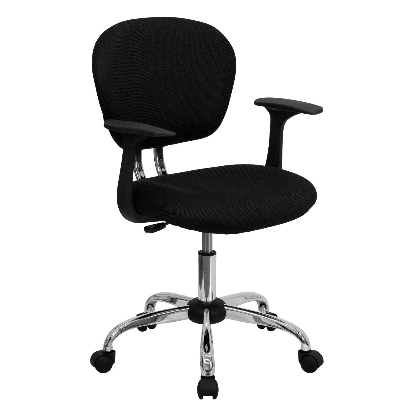 Mid-Back Black Mesh Padded Swivel Task Office Chair with Chrome Base and Arms