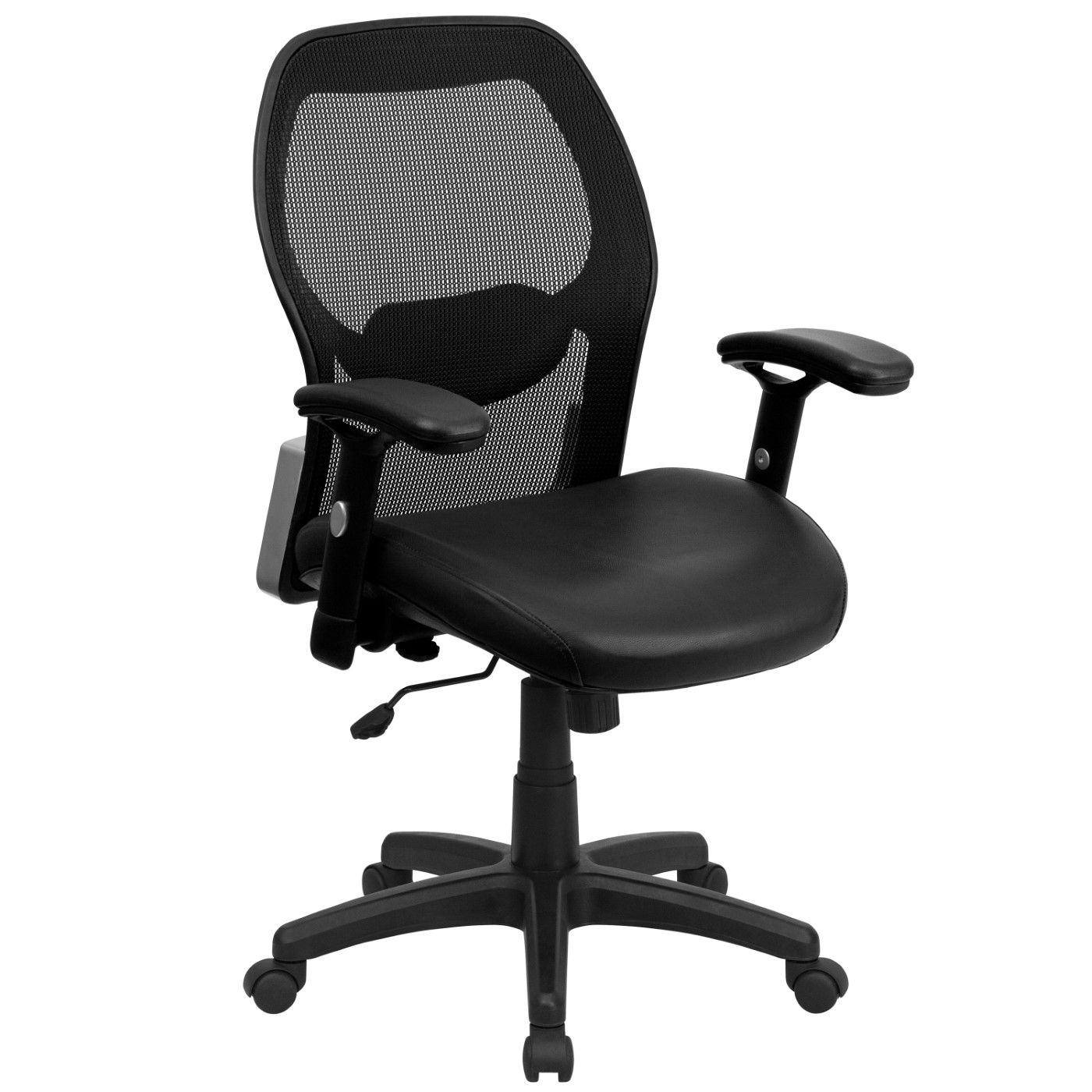 Mid-Back Black Super Mesh Executive Swivel Office Chair with LeatherSoft Seat and Adjustable Lumbar & Arms