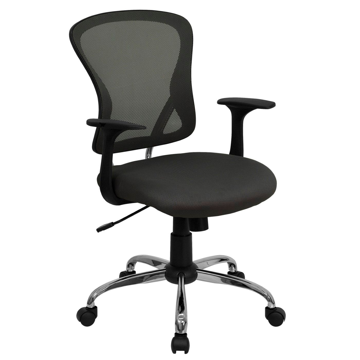 Mid-Back Dark Gray Mesh Swivel Task Office Chair with Chrome Base and Arms