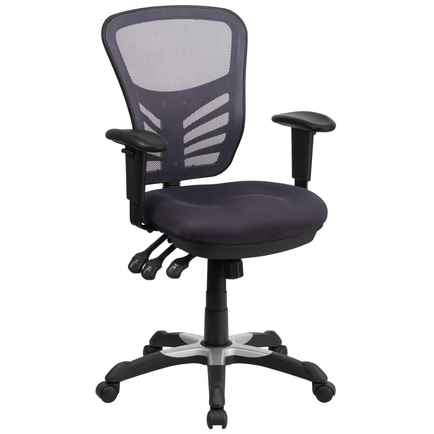 Mid-Back Dark Gray Mesh Multifunction Executive Swivel Ergonomic Office Chair with Adjustable Arms