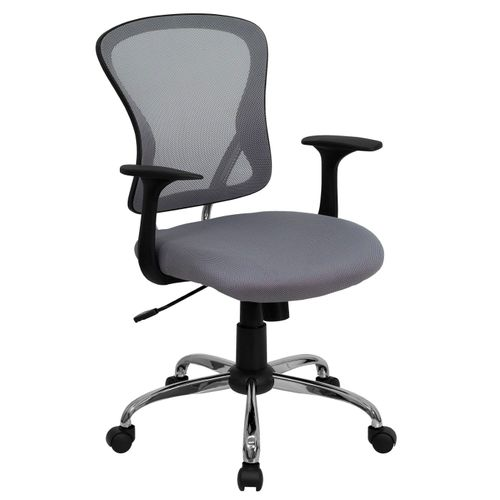 Mid-Back Gray Mesh Swivel Task Office Chair with Chrome Base and Arms