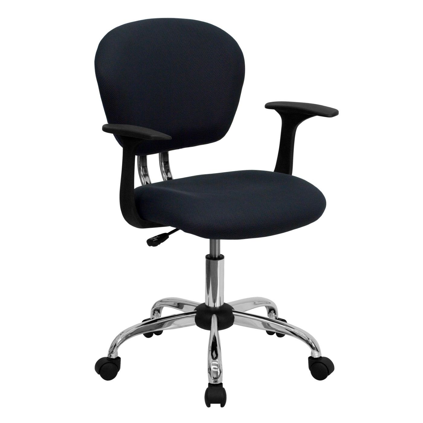Mid-Back Gray Mesh Padded Swivel Task Office Chair with Chrome Base and Arms