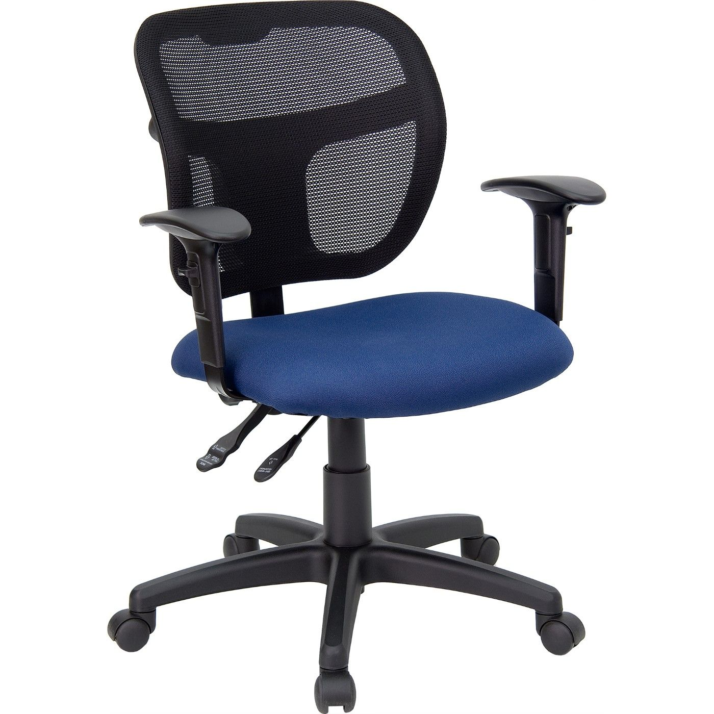 Mid-Back Navy Blue Mesh Swivel Task Office Chair with Back Height Adjustment and Adjustable Arms