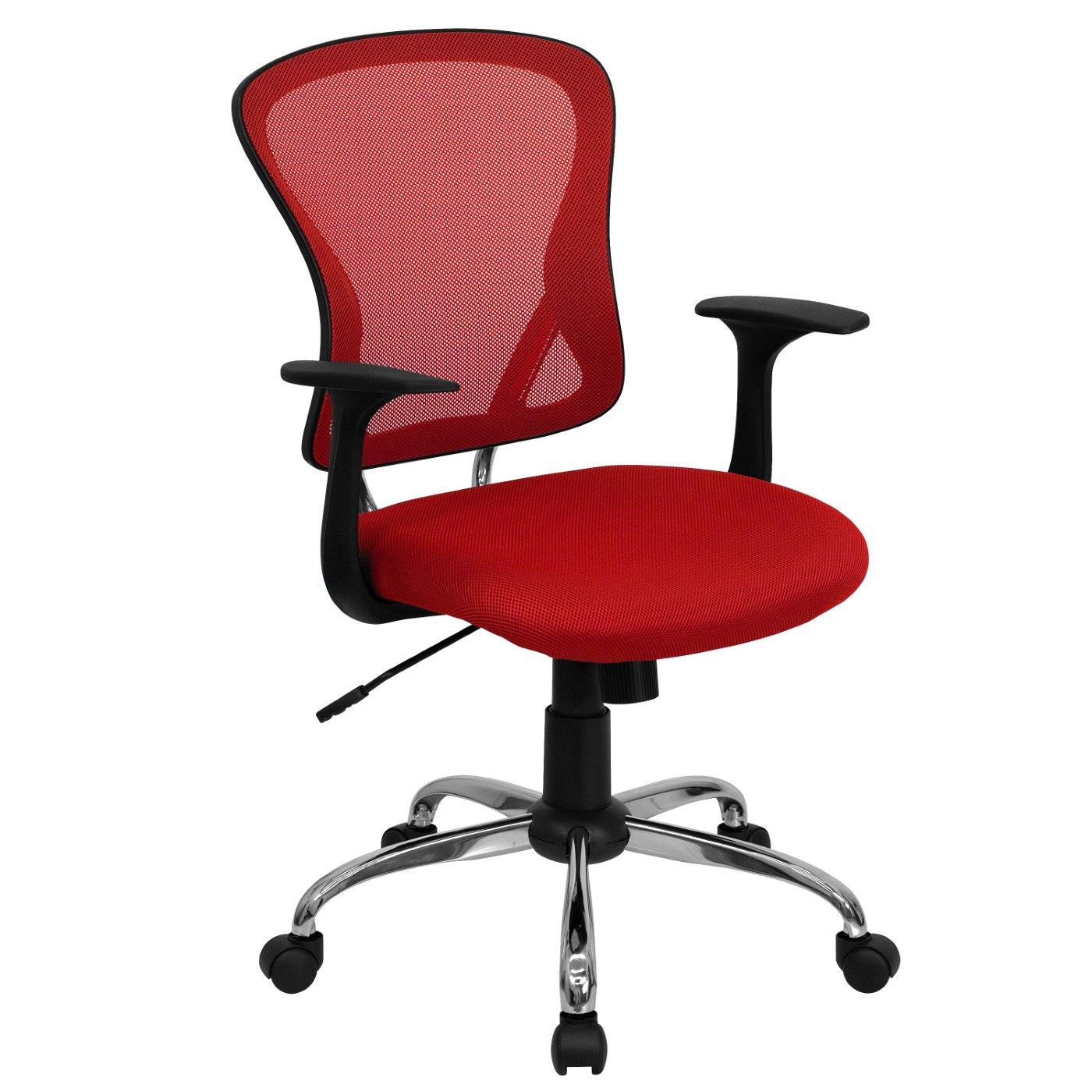 Mid-Back Red Mesh Swivel Task Office Chair with Chrome Base and Arms